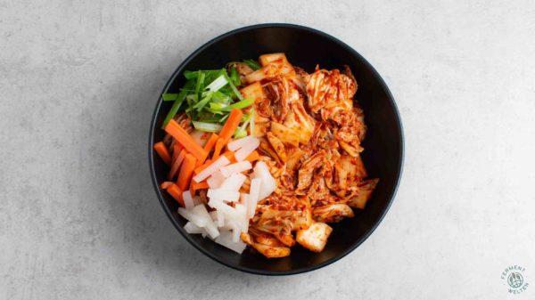 Zutaten für veganes Kimchi Rezept