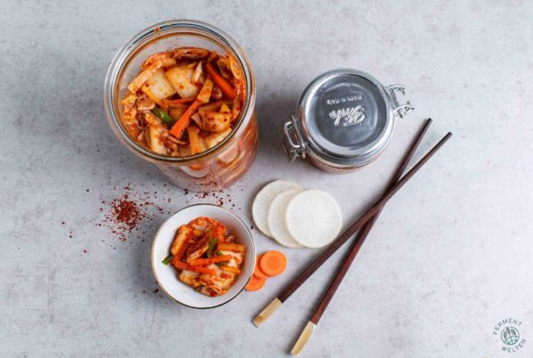 Fertiges veganes Kimchi von oben